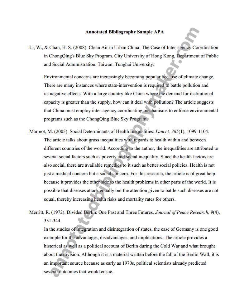 Sample Apa Annotated Bibliography Example