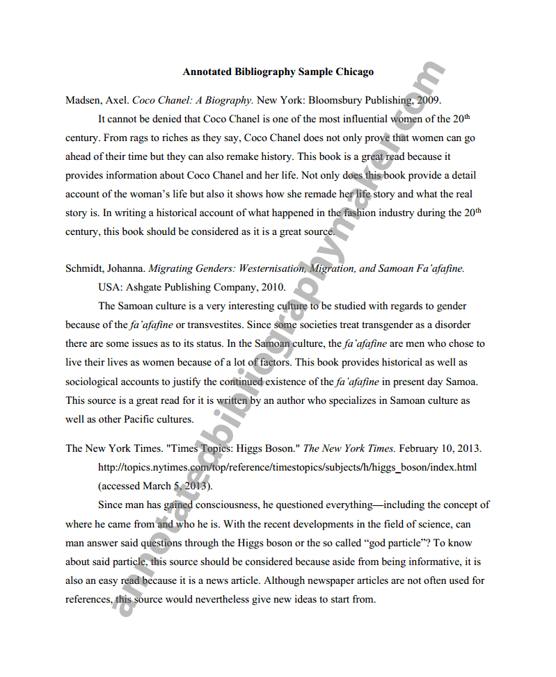 Annotated bibliography for a book page