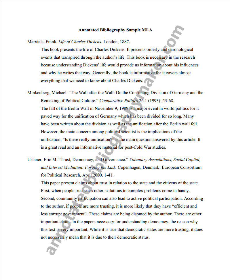 Annotated Bibliography Format Mla 7