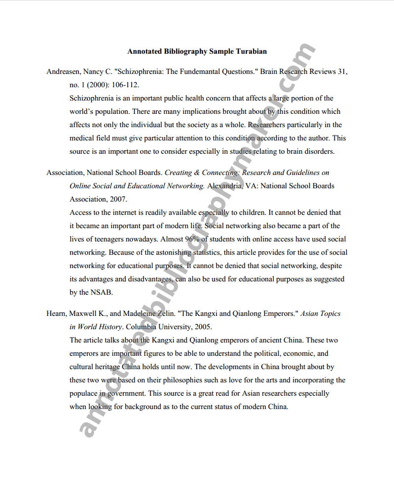 annotated bibliography chicago style example