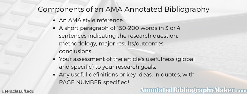components of an ama annotated bibliography