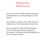 Bibliography APSA Format sample