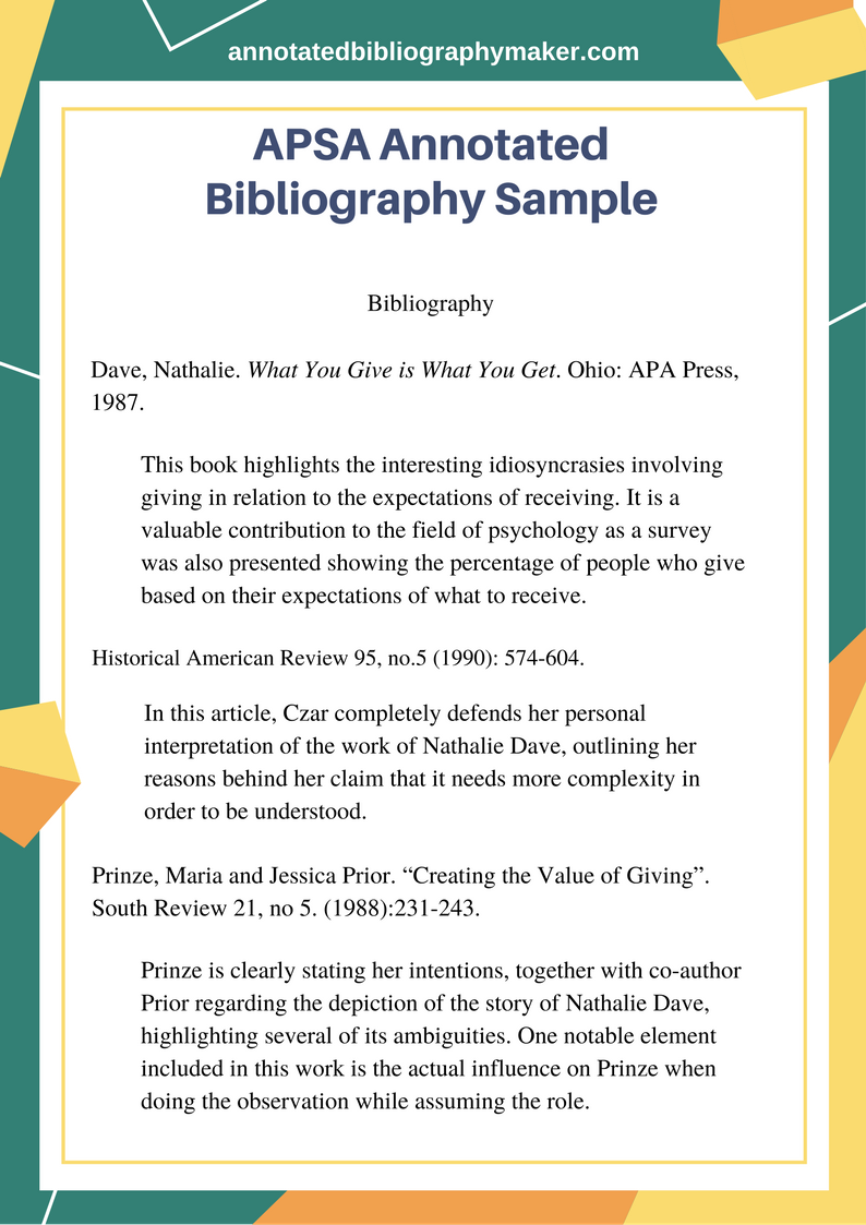annotated bibliography apsa