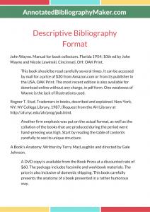 descriptive bibliography example