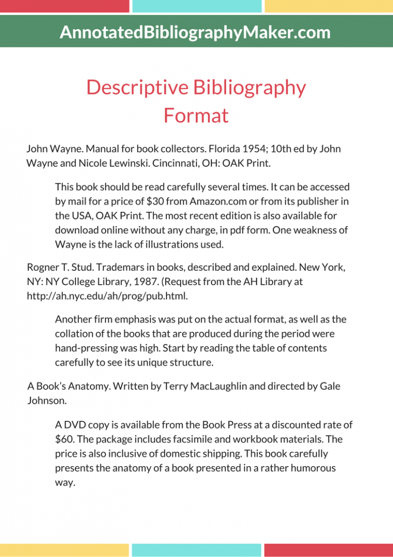 bibliography format book For other types of e-books, name the format if no fixed page numbers are available, cite a section title or a chapter or other number in the notes, if any (or simply.