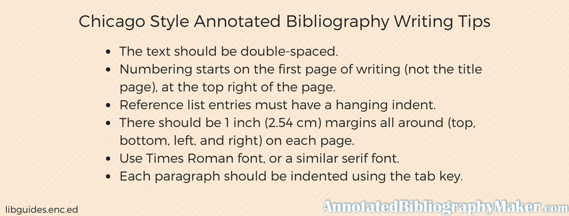 chicago style annotated bibliography writing tips