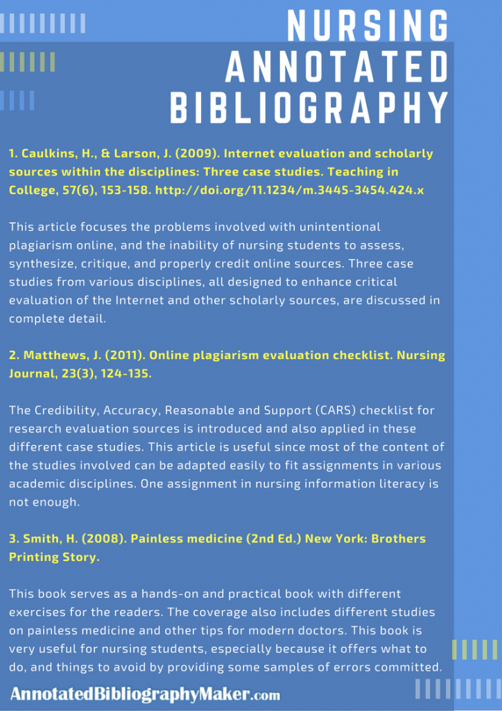 nursing annotated bibliography sample